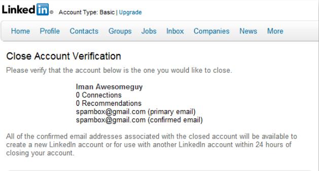 How to delete linkedin account