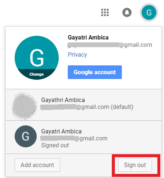 how to set or change default google account