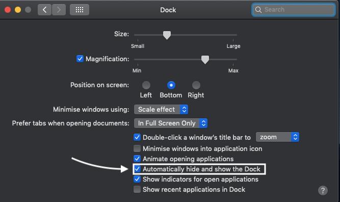 HOW TO HIDE DOCK ON MAC