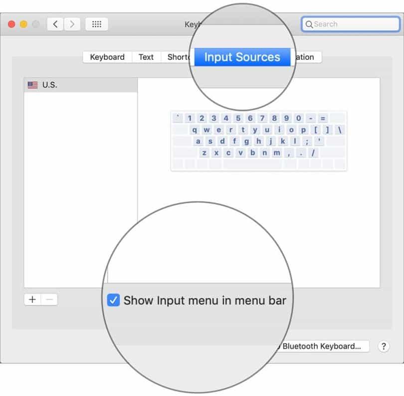 Show input menu in menu bar