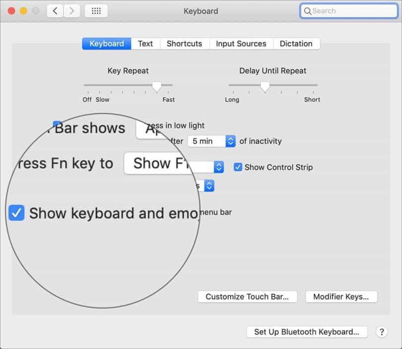 Show keyboard and emoji viewers in the menu bar
