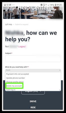 How to delete Lyft Account