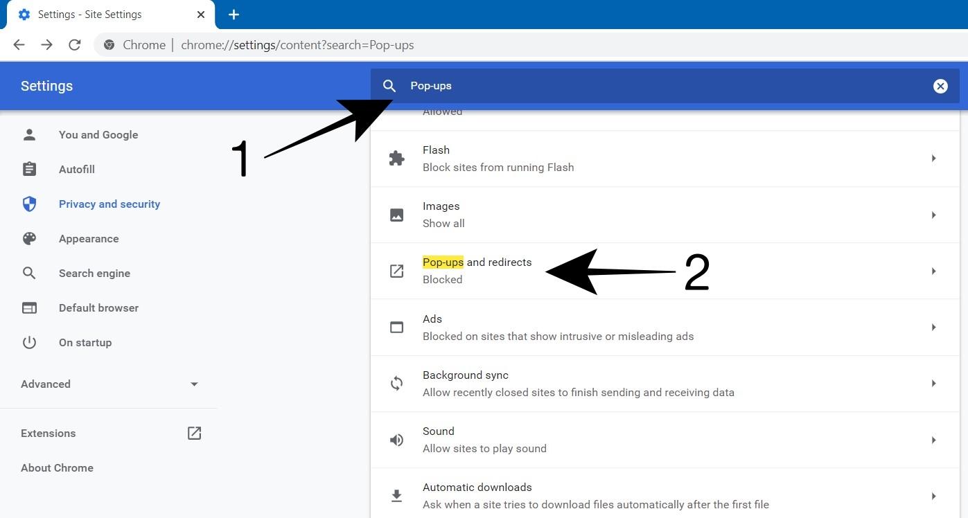 Set Pop ups Settings in Chrome