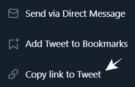 Select Copy Link to Tweet