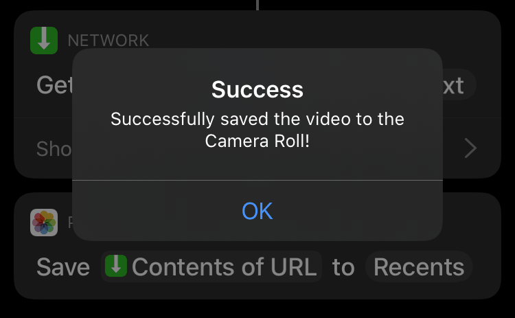 Twitter video successfully downloaded via iPhone