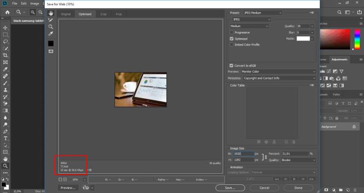 Reduce photo size with Photoshop step 4
