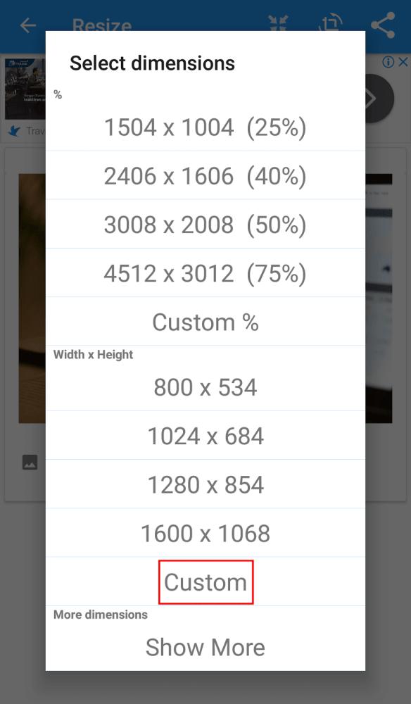 reduce the custom photo size